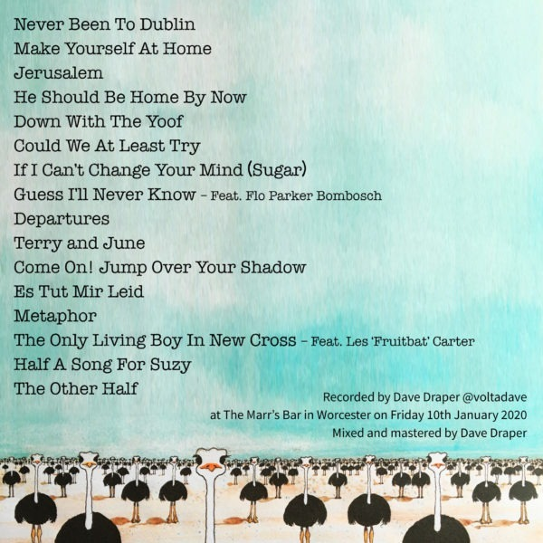 Nick Parker & The False Alarms Live Album Cover Art Rear